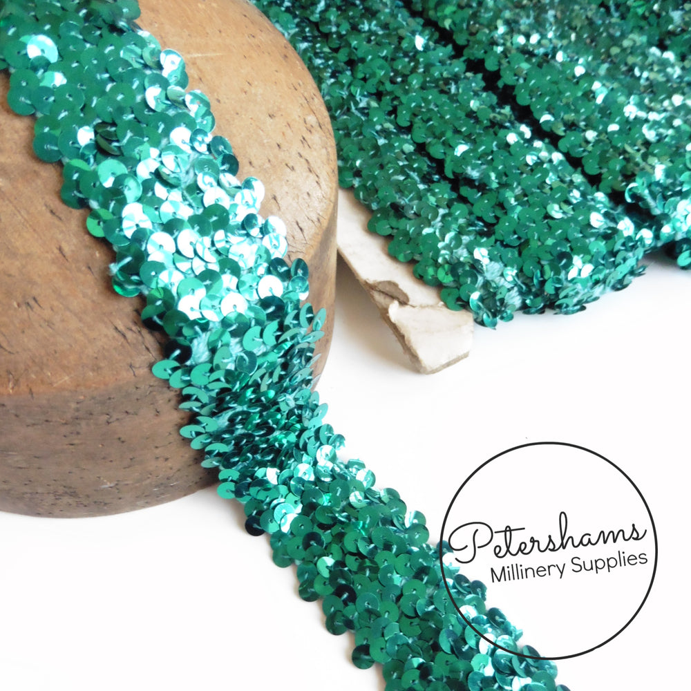 40mm Vintage 1960s Elasticated Sequin Trim - 1m