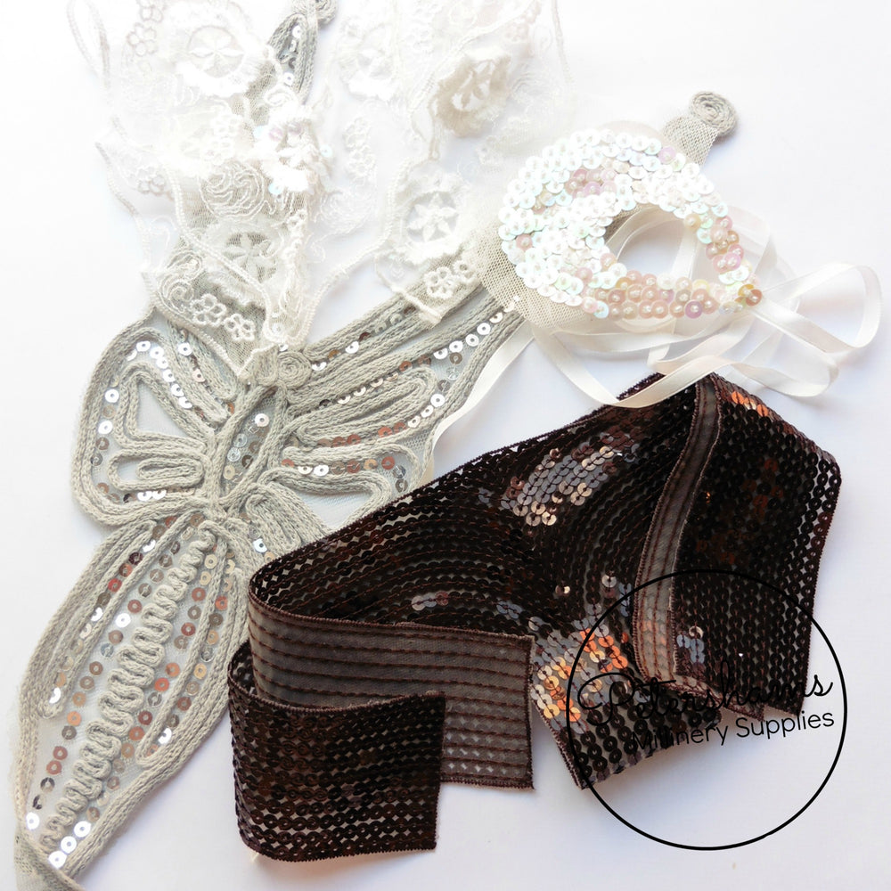 LUCKY DIP! 5 Assorted Beaded/Sequin/Lace/Embroidered Embellishment Motifs