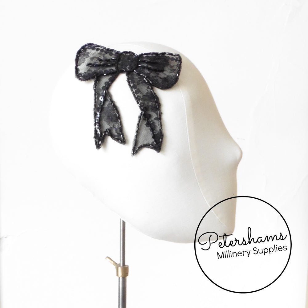 Black Sequin & Beaded Lace Bow Motif