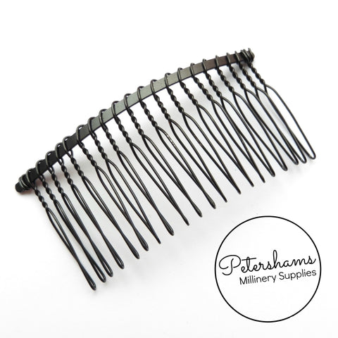"8.5cm (3.25"") Black Metal Hair Comb"