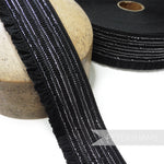 50mm Gathered Edge Elastic with Metallic Silver Stripes - 1m