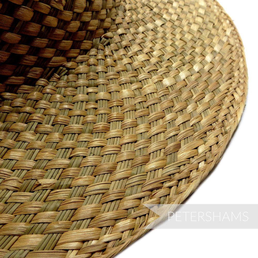 Vintage 1960's Seagrass & Raffia Checkerboard Straw Capeline Hat Body - 11""