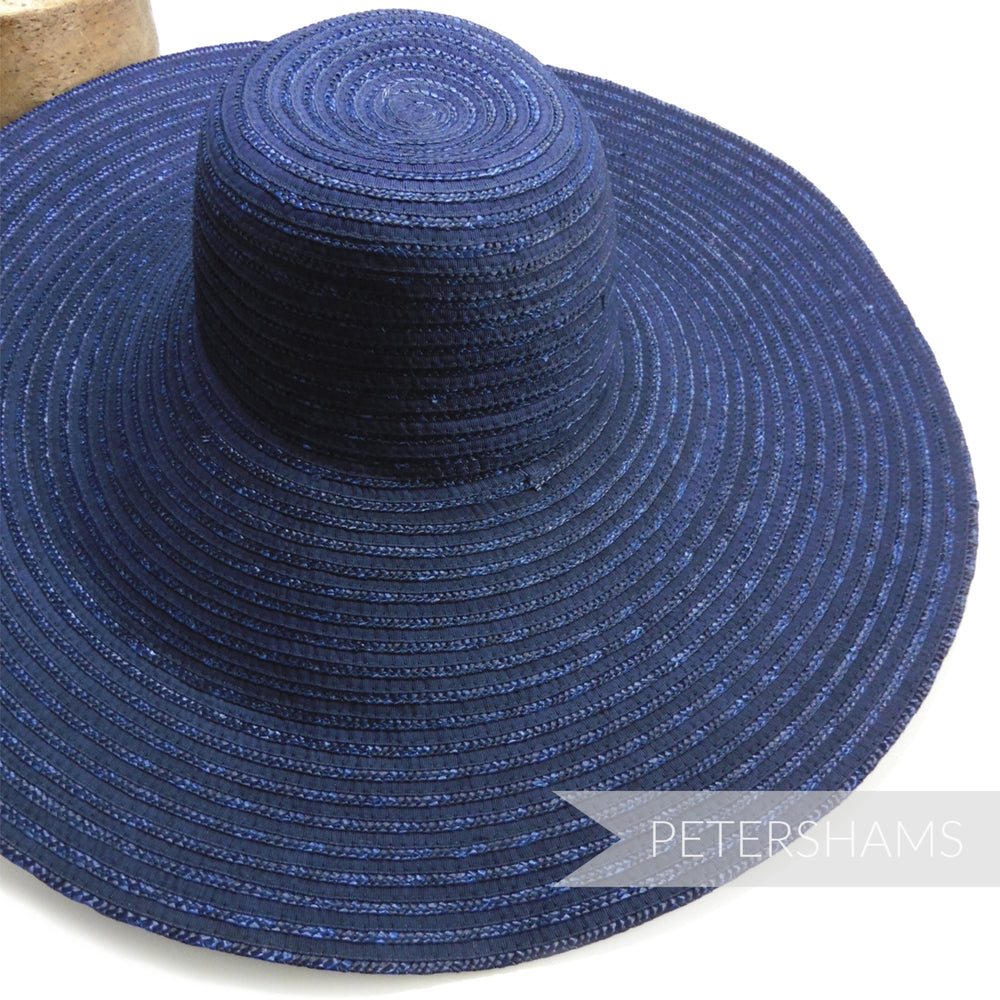 Vintage 50's/60's XL Petersham Ribbon & Laichow Straw Hat Base / Capeline - 14""