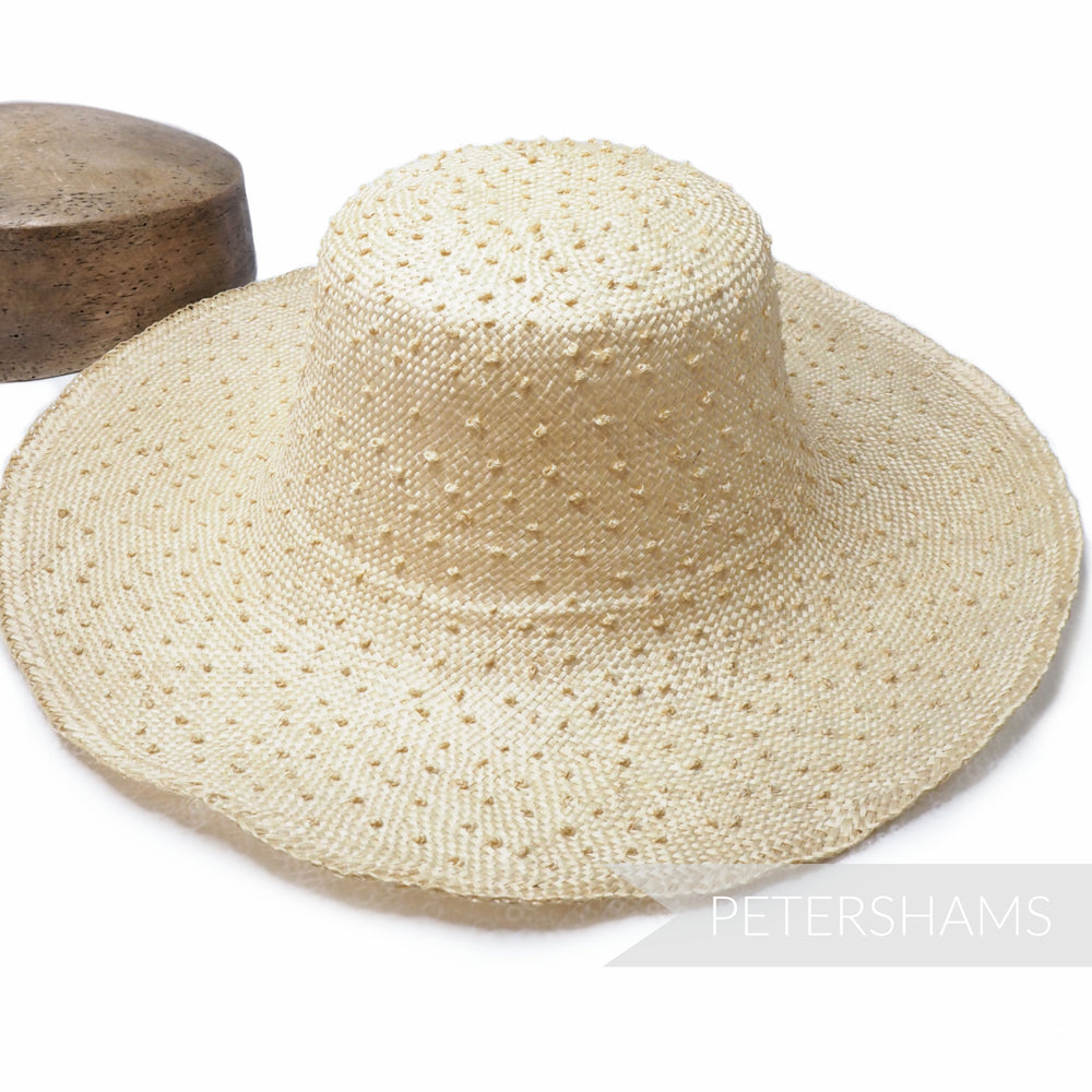 Knotted Natural Ramie Straw Capeline Hat Body - 11""
