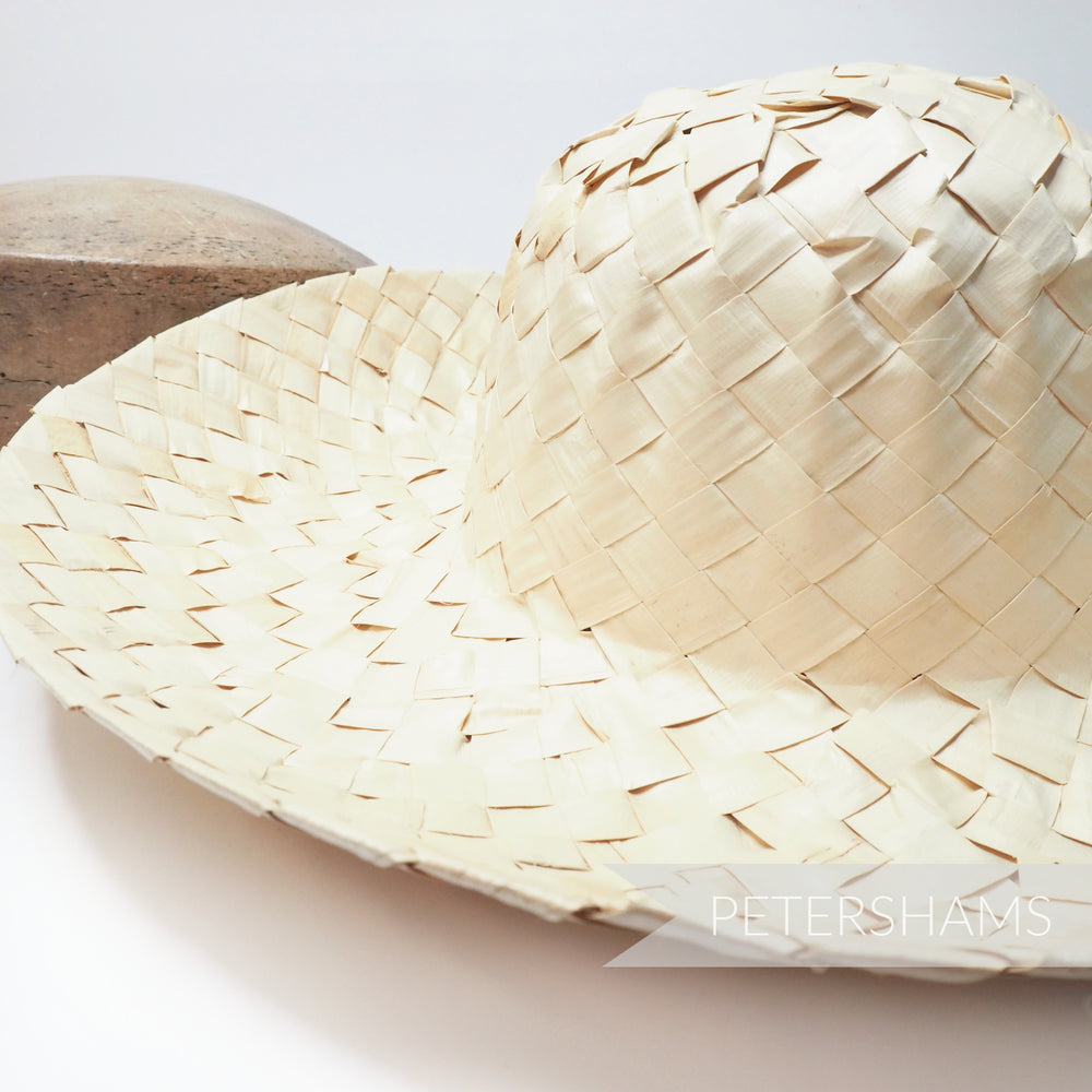 Large Check 1x1 Strip Straw Capeline Hat Body - 12""
