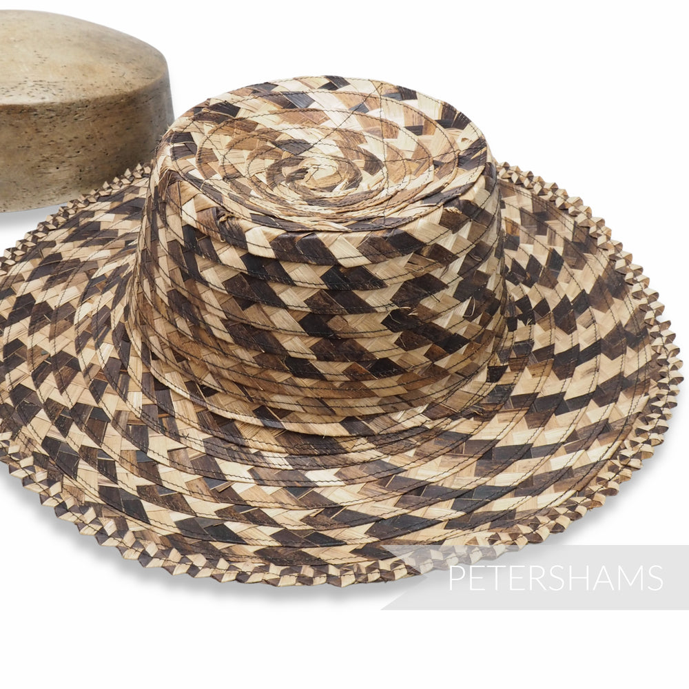 Contrasting Plaited Bark Straw Capeline Hat Body - 11""