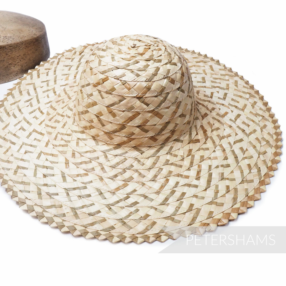 'Emmy' Natural Multitone Strip Straw Decorative Edge Capeline Hat Body - 12""