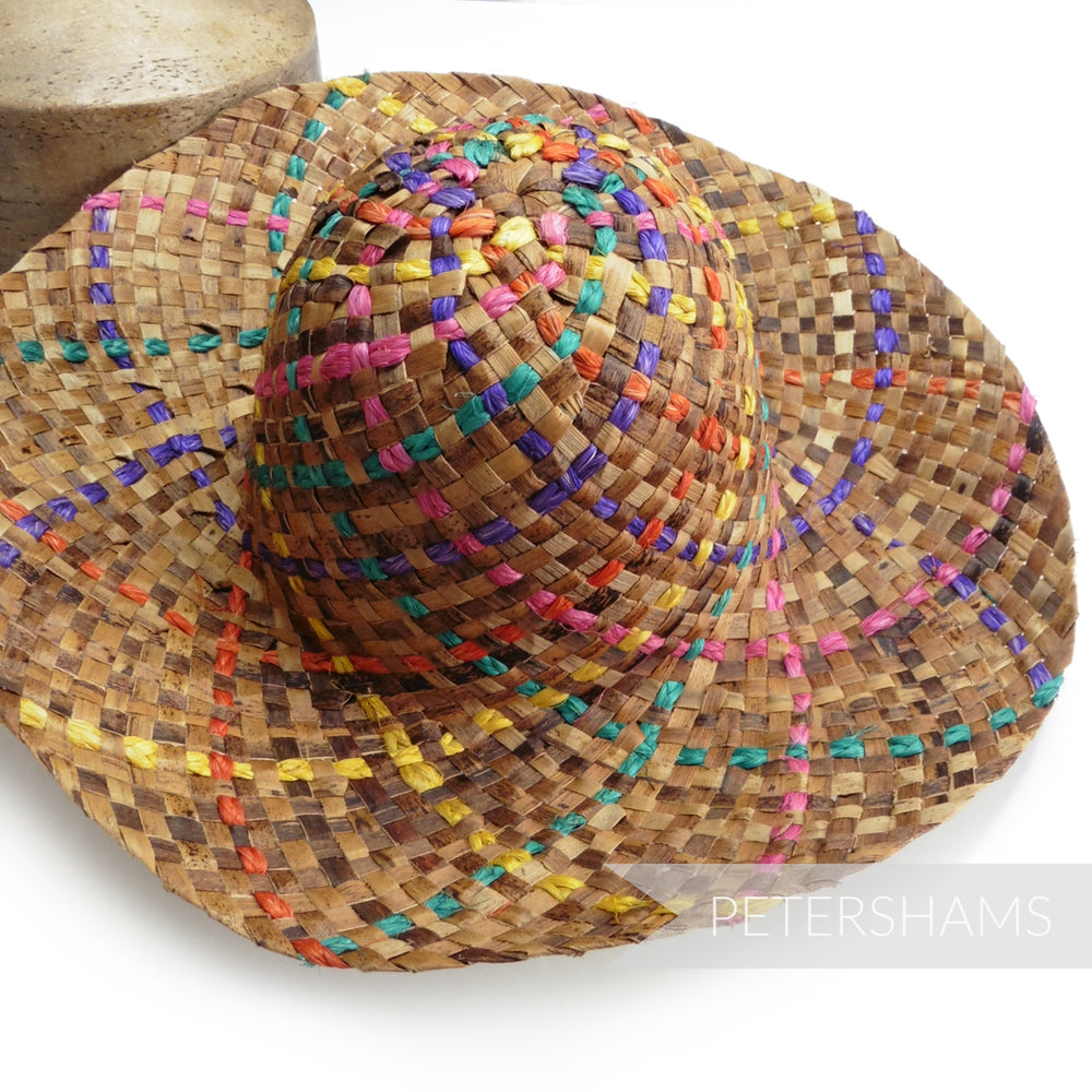 Fiesta Rainbow Dark Straw Capeline Hat Body - 11""