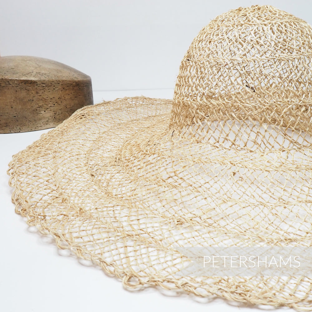 XL Scalloped Edge Natural Jute Capeline Hat Body - 15""