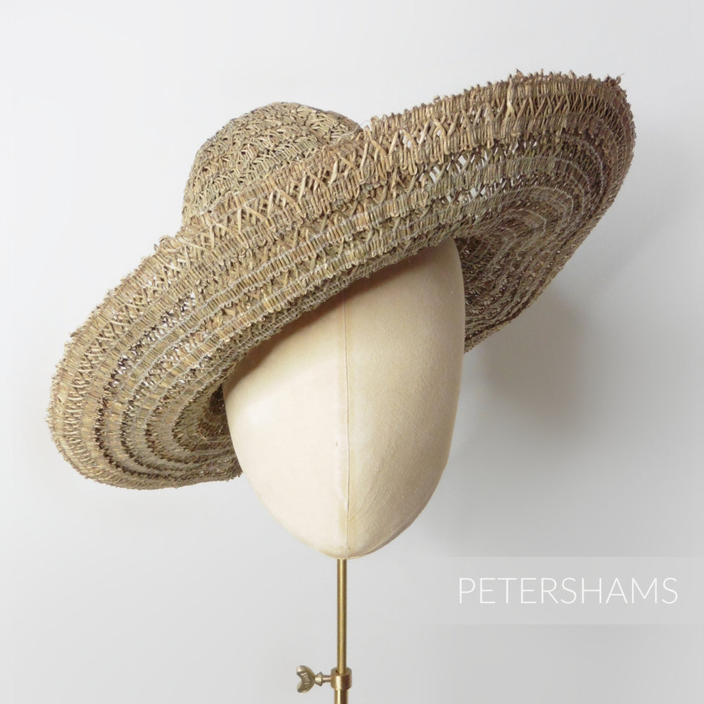 Vintage 1960's Intricate Seagrass Straw Braid Capeline Hat Body - 11""