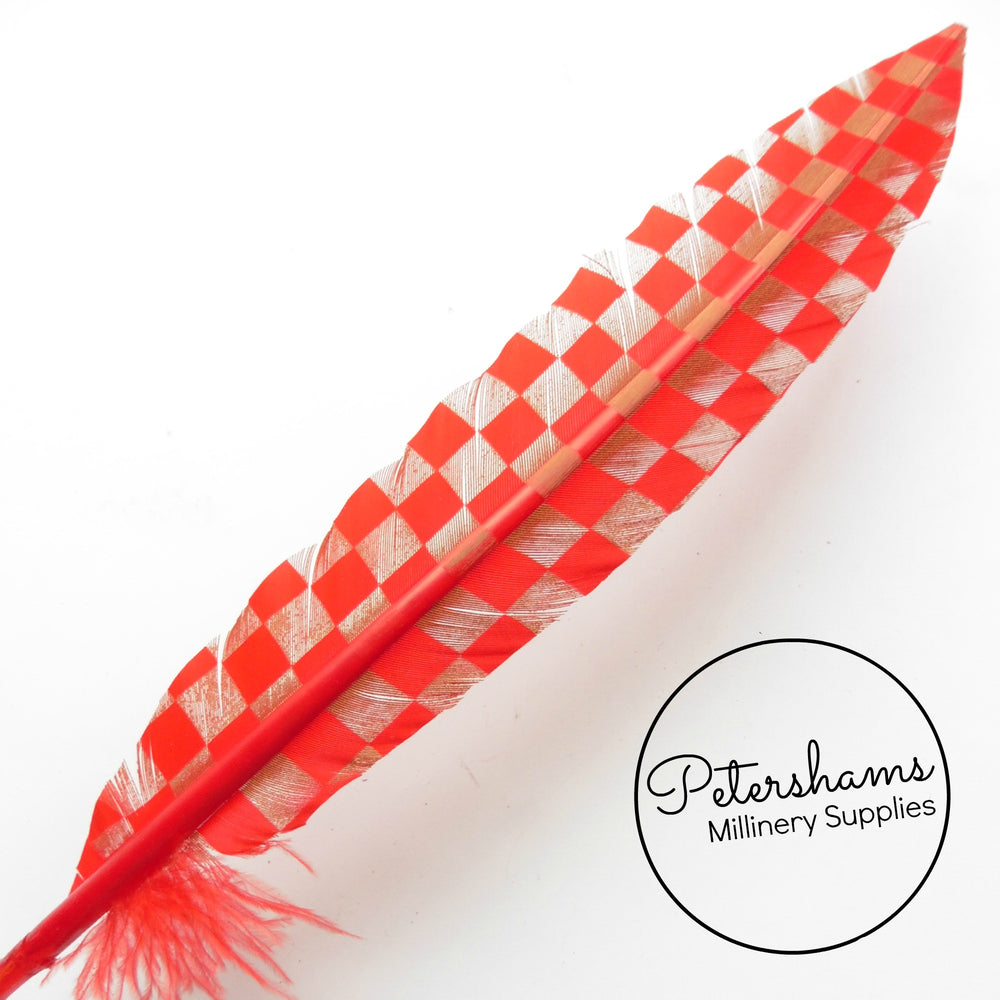 Checkerboard Pattern Imitation Goose Quill Feather - Single Feather