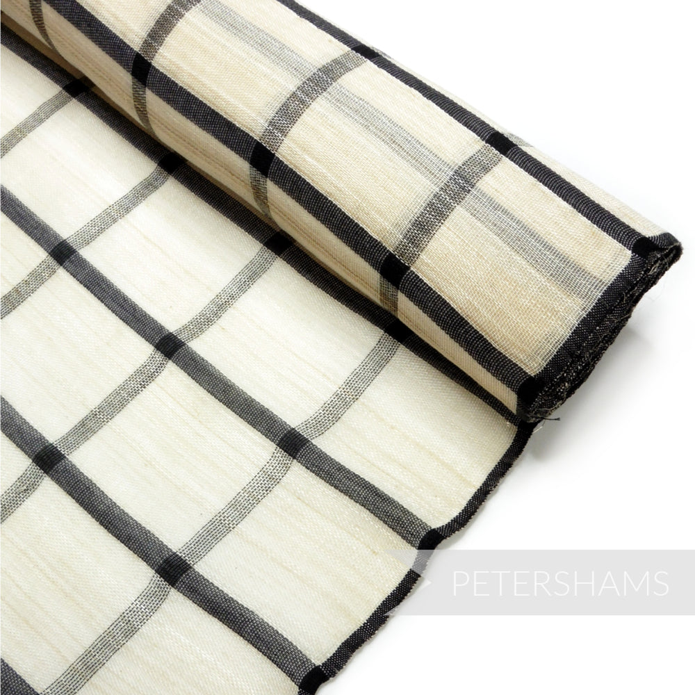 Checkered Weave Polyester Abaca Fabric - 1/2m