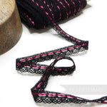18mm Black Cotton Lace Threaded with Wine Satin Ribbon - 1m