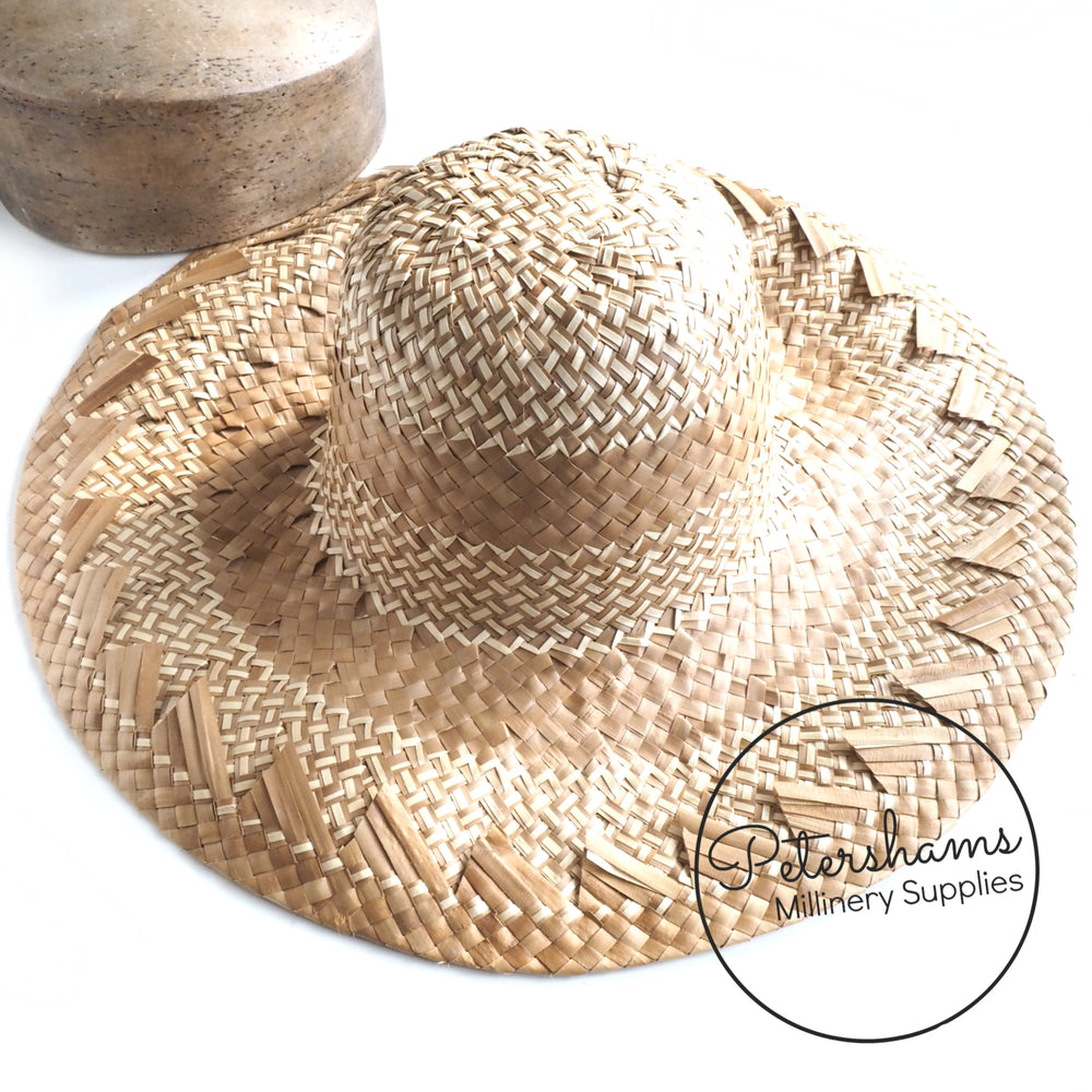 Decorative Brim Tan and Natural Straw Capeline Hat Body