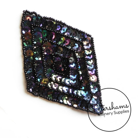 Diamond Beaded and Sequin Motif - Black AB