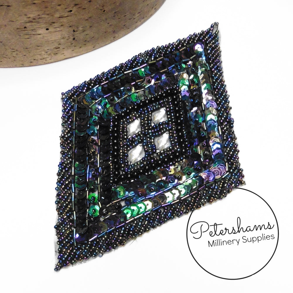 Heavily Beaded and Sequin Diamond Sew-on Motif