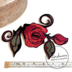 Large Embroidered Sew-on Rose Patch Motif