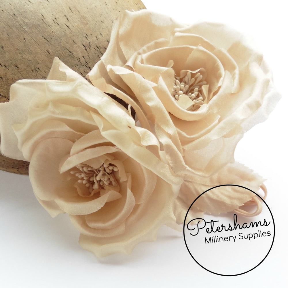 'Fiona' Silk Double Rose Millinery Flower Hat Mount