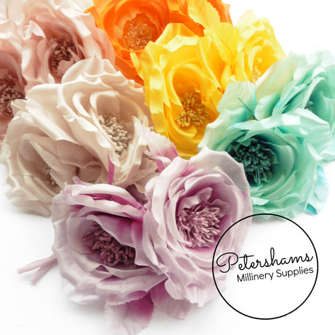 Flowers leaves petershams millinery supplies fiona silk double rose millinery flower hat mount mightylinksfo