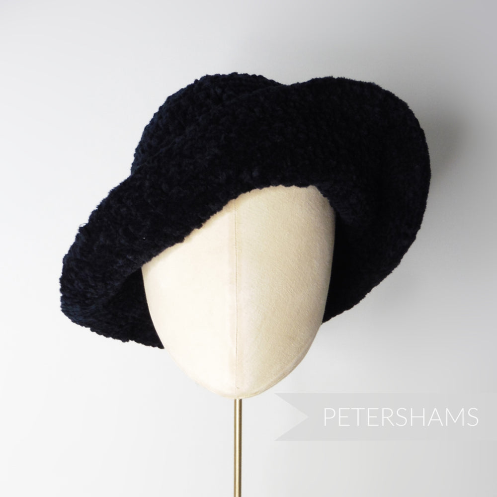 Vintage 1990's Black Chenille Knitted Cone Hat Body