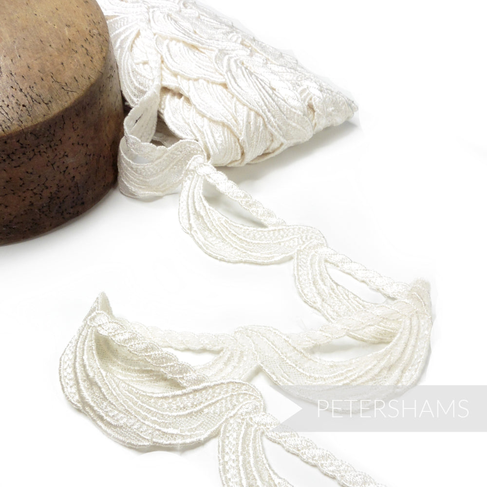 45mm Swag on Twisted Rope Motif Guipure Lace - 1m