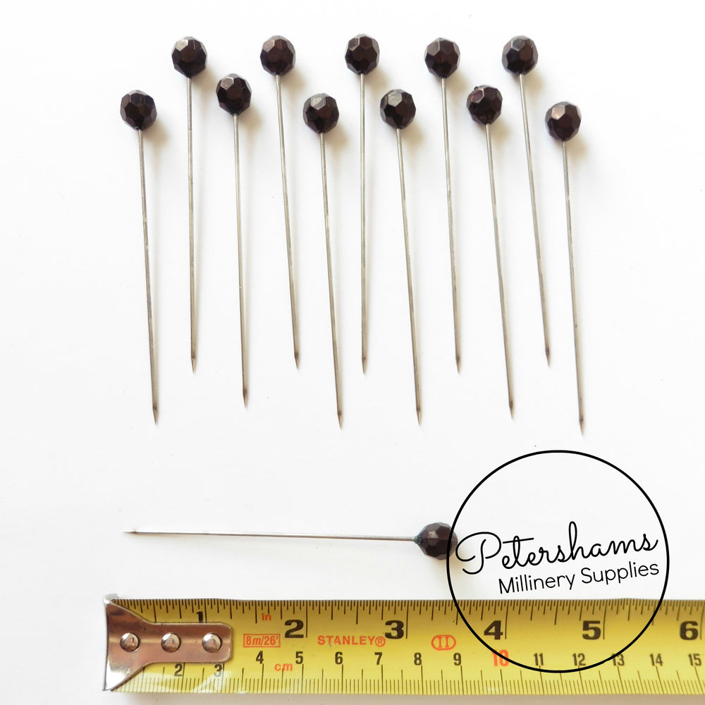 Set of 12 Extra Long 9cm (3.5 inch) Hat Pin Style Beaded Millinery Pins - Black