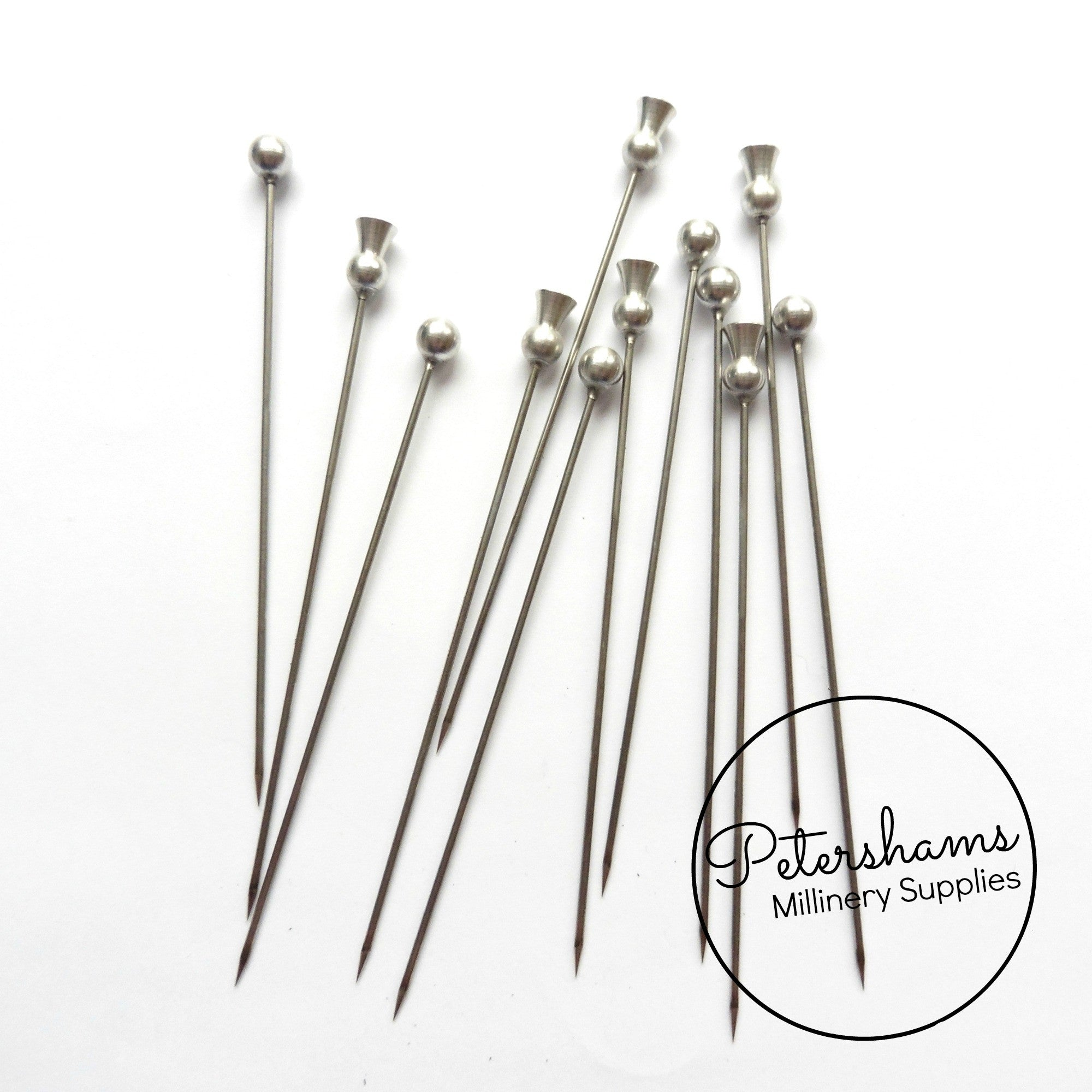 3aa93c746a7 Set of 12 Extra Long 9.5cm (3.7 inch) Metal Millinery Hat Pins -. Set of 12  Extra Long 9.5cm (3.7 inch) Metal Millinery Hat Pins -