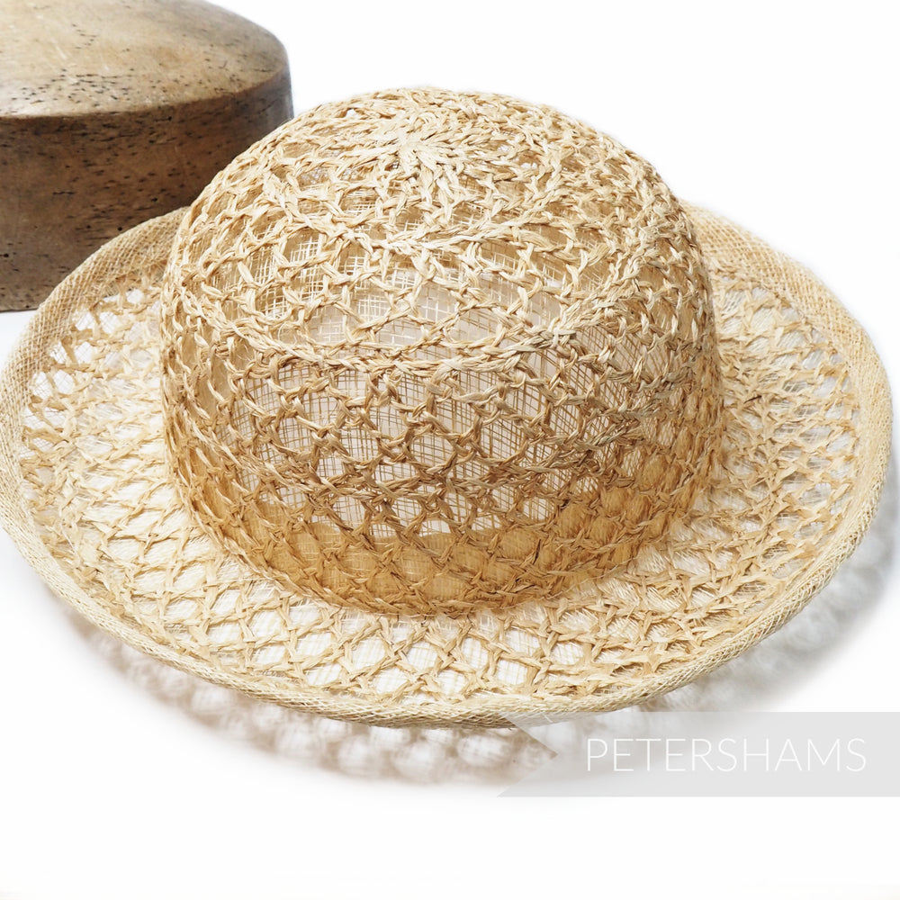 Layered Sinamay & Straw Mini Small Bowler Hat Shape