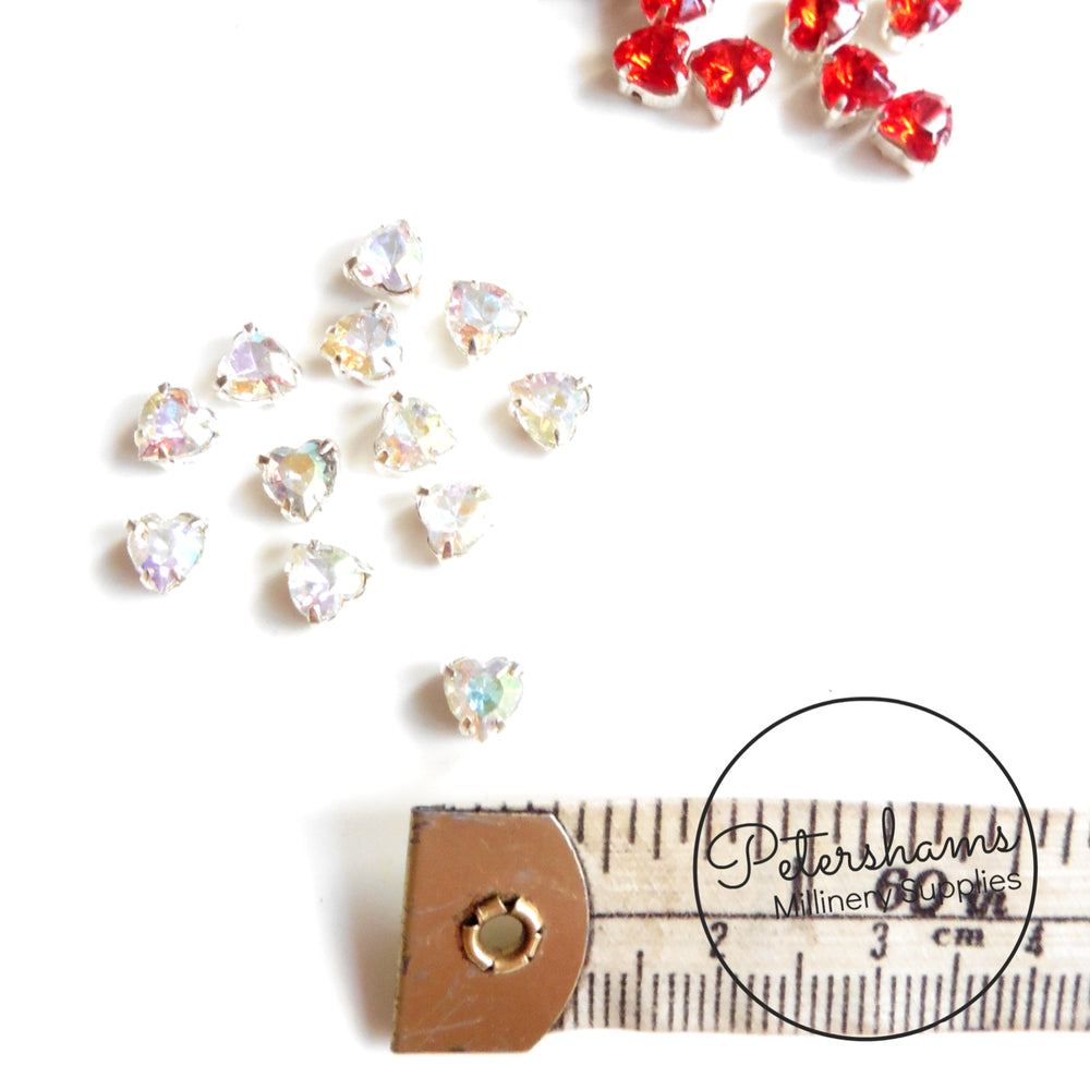 Mini 5mm Diamante Sew-on Gem Hearts in Metal Claw - 12 Pieces