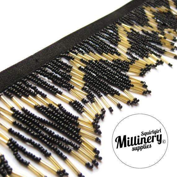 Art Deco Style Black & Gold Seed and Bugle Beaded Elasticated Fringe - 1m