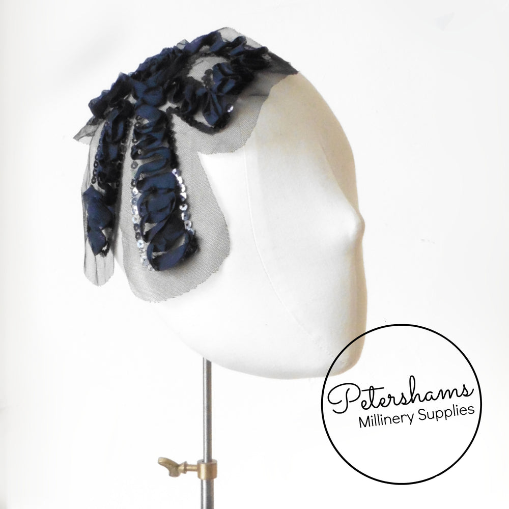 Large Navy Blue Sequin & Ribbon Bow Motif