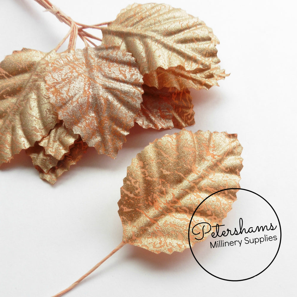 Rose Gold Small Fabric Leaves - 12 Leaves