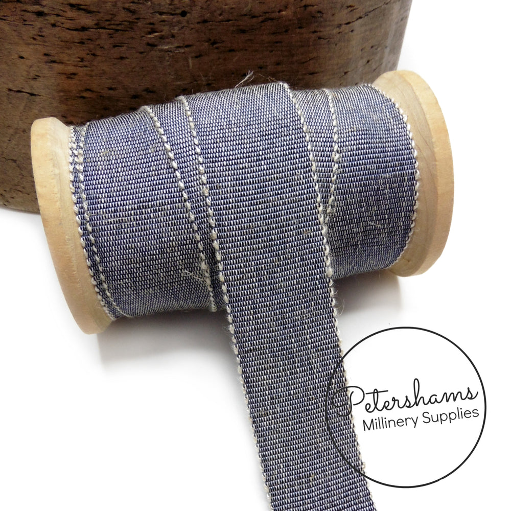 25mm No.5 Linen Threaded Millinery Petersham Hat Ribbon - 1m