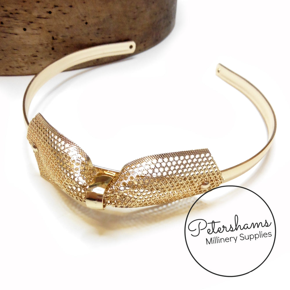 Vintage 1950s/60s Gold Metal Headband With Bow