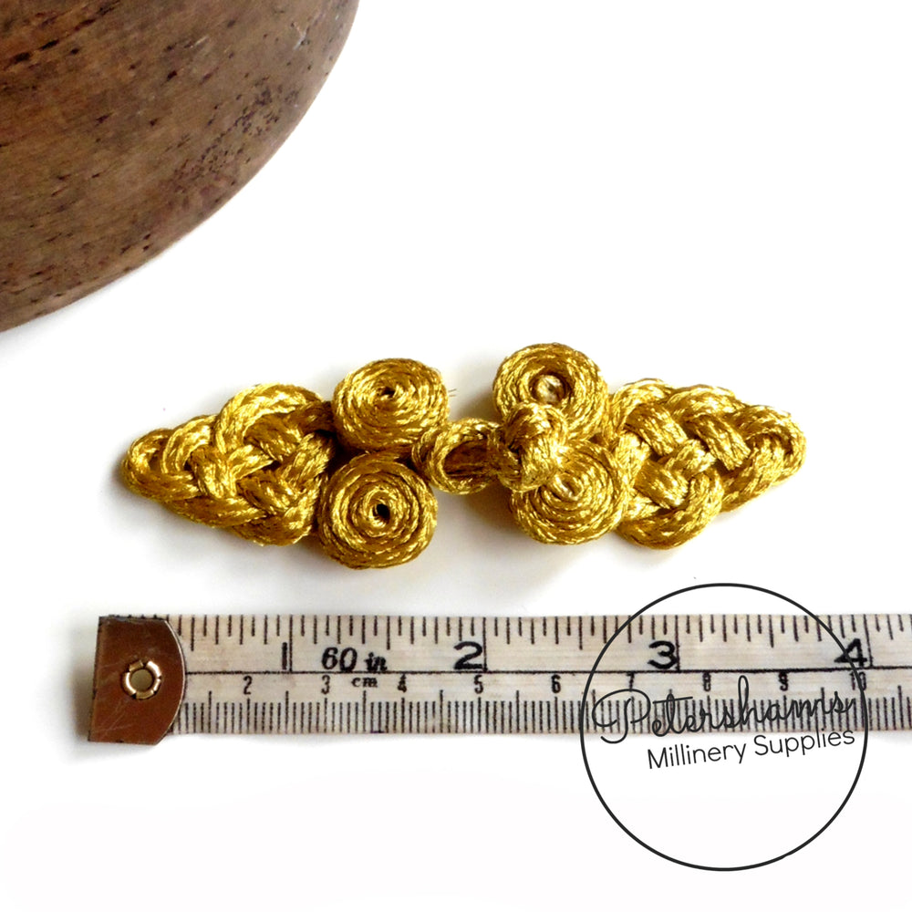 Metallic Gold Hand-Made Decorative Frog Fastener Trim