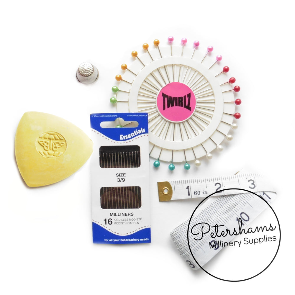 Millinery Essentials Kit- Pins, Chalk, Needles, Tape Measure & Thimble