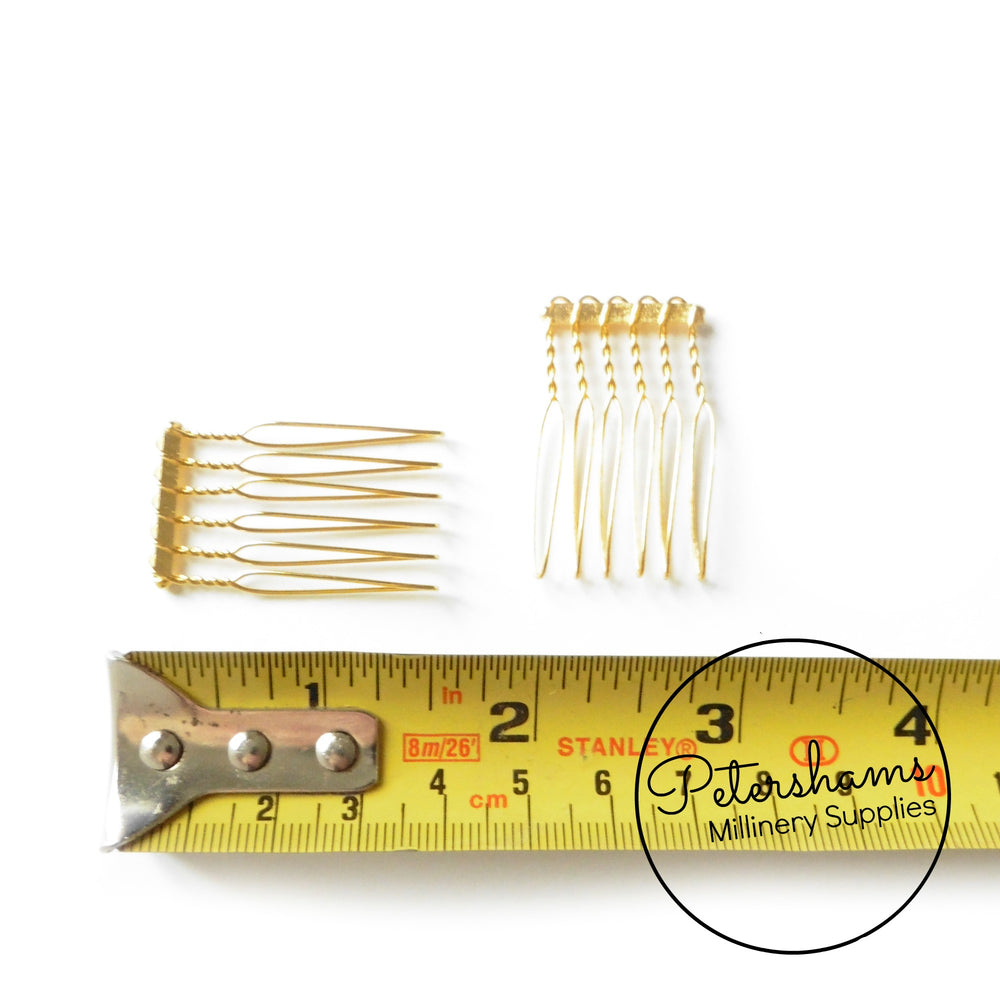 Mini Silver or Gold Plated Metal Hair Combs