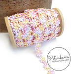 12mm Wide Multicoloured Guipure Lace Daisy Flower Trim - 1m