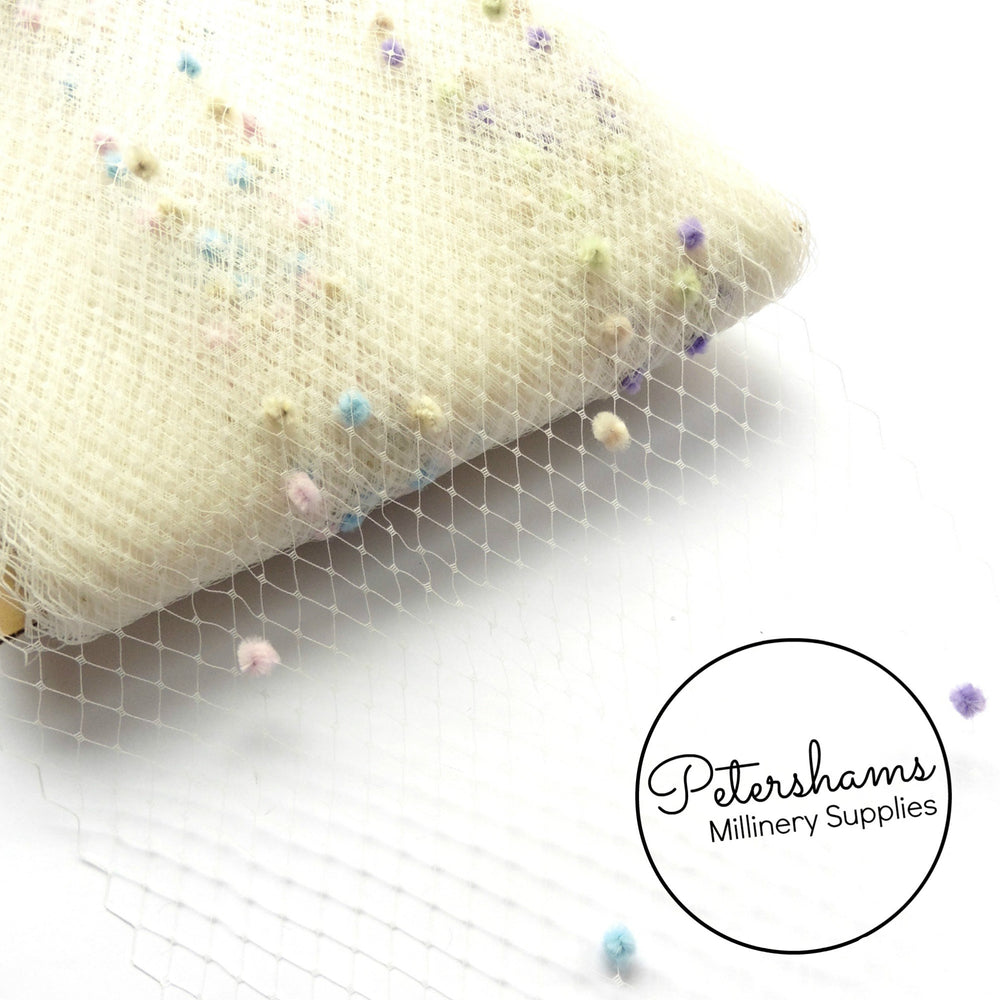 9 inch wide Pastel Dotted Veiling - 1m