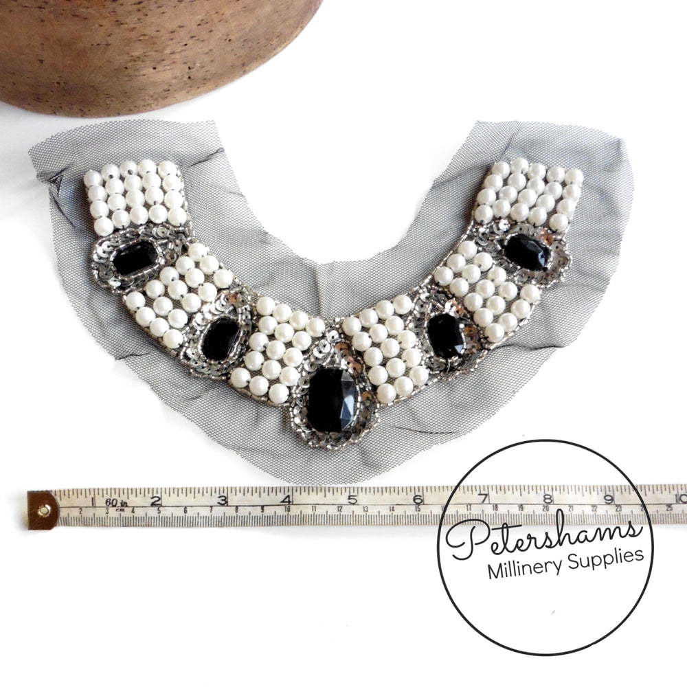 Sequin, Beaded and Pearl Adorned Mesh Collar Motif