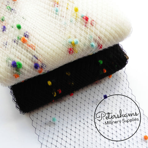 9 inch wide Rainbow Dotted Veiling - 1m