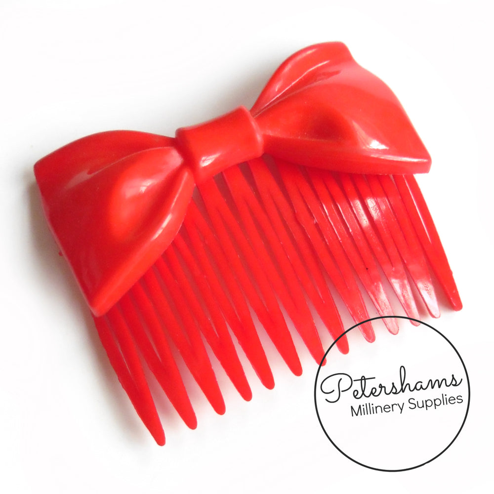 Vintage 1970's Red Bow Plastic Hair Comb