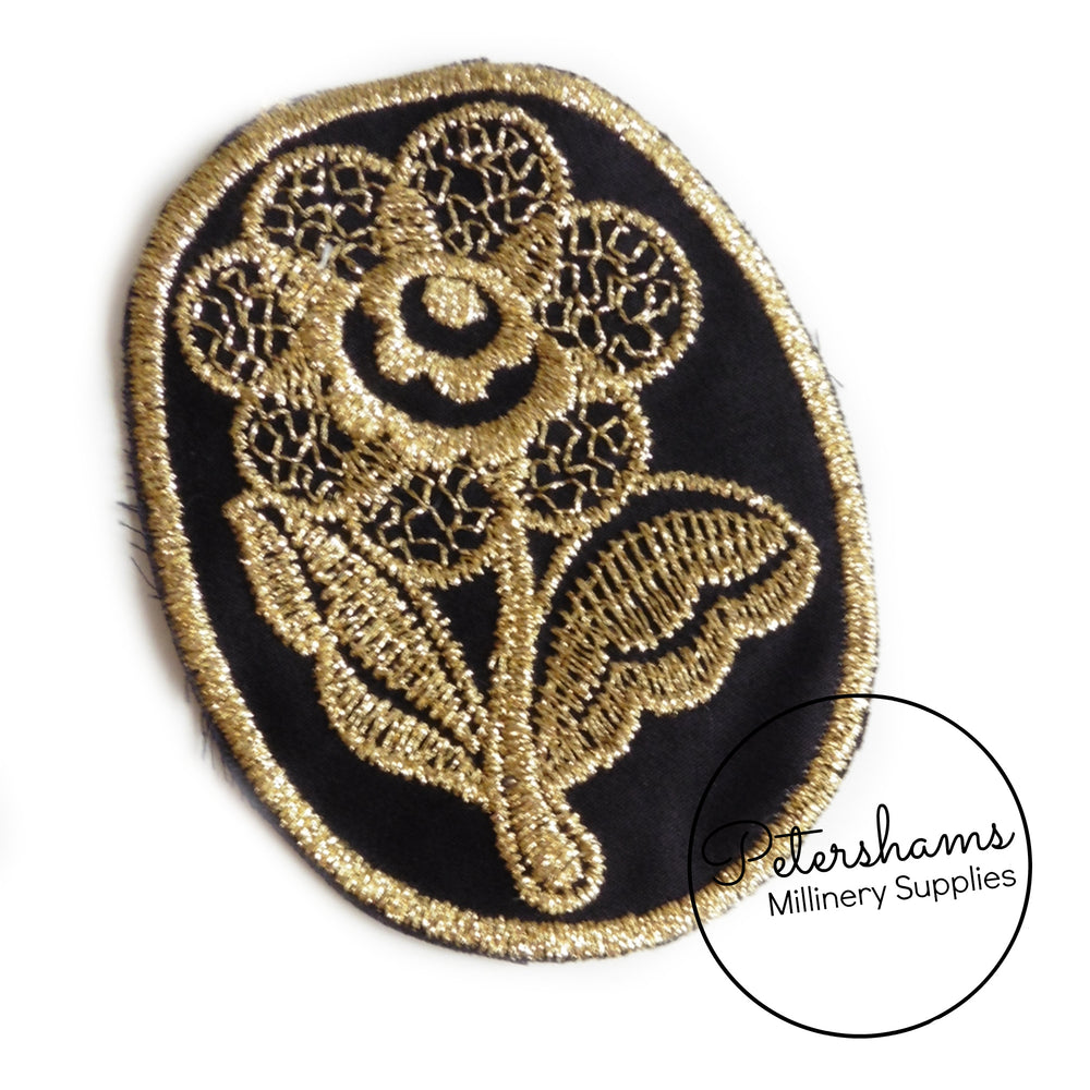 Metallic Embroidered Flower Motif