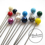 Set of 12 Extra Long 9cm (3.5 inch) Round Millinery Hat Pins - Assorted Colours