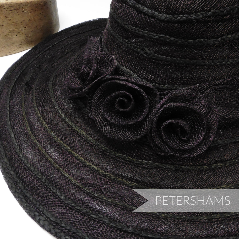 Rose Trimmed Sinamay & Plaited Raffia Hat Form