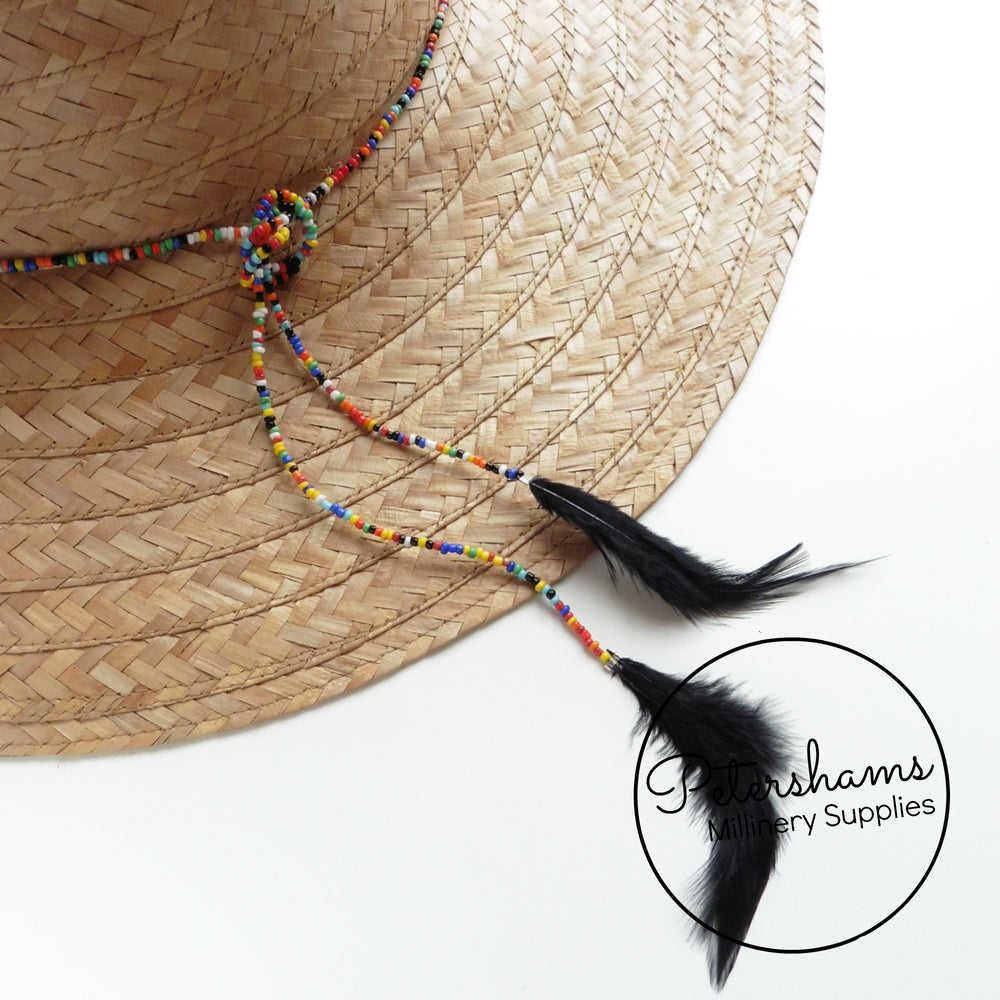 Multicolour Seed Bead & Hackle Feather Hat Wrap