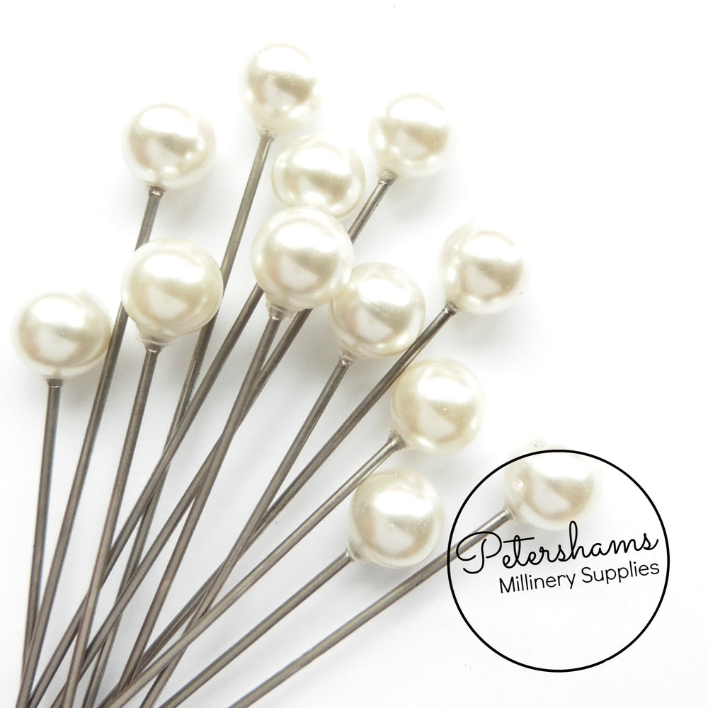 Set of 12 Extra Long 9cm (3.5 inch) Hat Pin Style Beaded Millinery Pins - Ivory Pearl