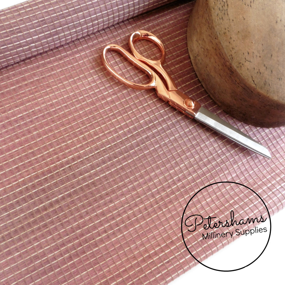 Silk Abaca with Buntal Small Check Design Fabric - 1/2m