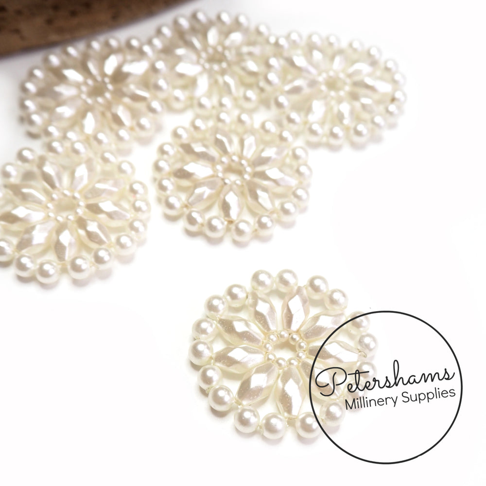 3cm Wide Faux Ivory Pearl Discs - Set of 6