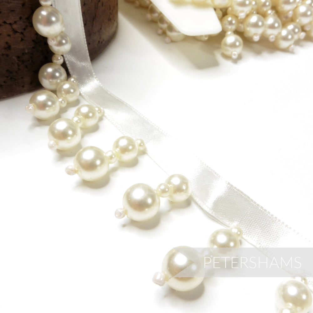 Double Ivory Pearl Fringe on Satin Ribbon - 1m